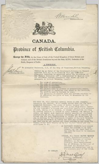 Commission prepared by McLeary, J  D , British Columbia Provincial
