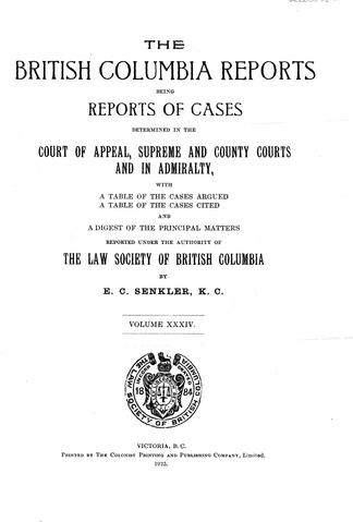 The British Columbia Reports - UBC Library Open Collections