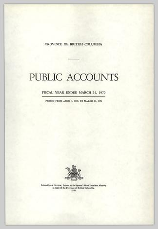 PUBLIC ACCOUNTS FISCAL YEAR ENDED MARCH 31, 1970 PERIOD FROM