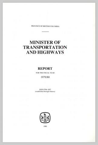 MINISTER OF TRANSPORTATION AND HIGHWAYS REPORT FOR THE