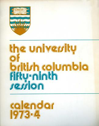the university of british columbia fifty ninth session calendar 1973