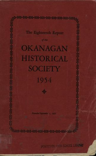 The eighteenth report of the Okanagan Historical Society 1954 - UBC